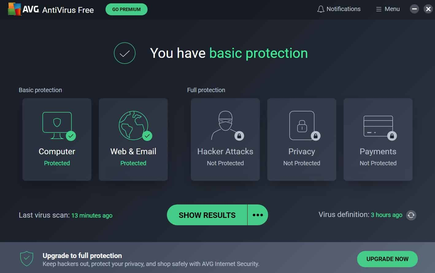 AVG - You Have Basic Protection