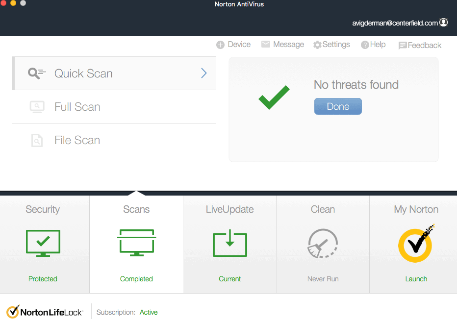 Norton Quick Scan Completed